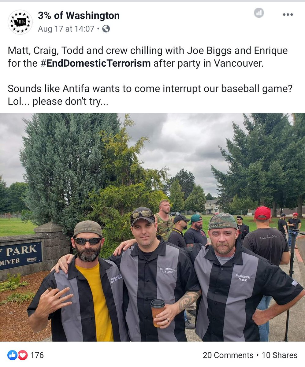 Threepers brag about hanging out with violent proud boys and fascists.