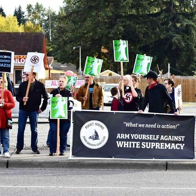 Puget Sound John Brown Gun Club and Tacoma Against Nazis rallying against Tac Town Tattoo